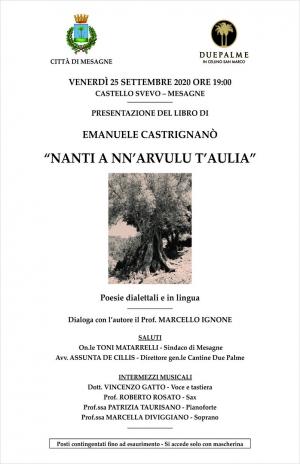 25 settembre. Presentazione nuova raccolta di poesie di Emanuele Castrignanò